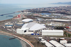 Olympic Park. SOCHI, ADLER, RUSSIA - MAR 02, 2014: Olympic Park in Adlersky District, Krasnodar Krai - venue for the 2014 winter Olympics, top view Royalty Free Stock Photo