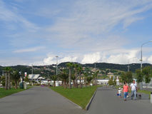 Olympic Park Sochi, Russia, people walking, green lawns and palm trees. People on the footpath, green lawns and palm trees, city and mountains on the horizon Stock Photography