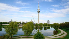 Olympic park with TV tower in Munich, Germany. Olympic park in Munich, Germany in spring stock video footage