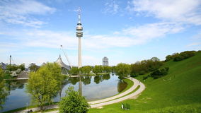 Olympic park with TV tower in Munich, Germany. Olympic park in Munich, Germany in spring stock footage