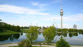 Olympic park with TV tower in Munich, Germany. Olympic park in Munich, Germany in spring stock video