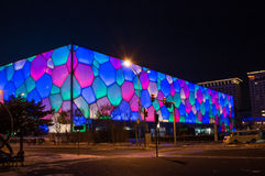 Olympic park Water Cube night scene Royalty Free Stock Images