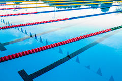 Olympic Pool Corridor Cables Floating Royalty Free Stock Photos
