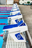 Olympic Pool Starting Blocks Stock Photo