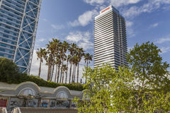 Olympic port and barceloneta quarter, tower building. Royalty Free Stock Images