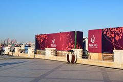 Olympic posters  on Baku embankment Royalty Free Stock Photos