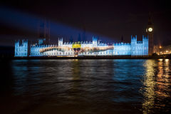 Olympic Projection on the Palace of Westminster Royalty Free Stock Photography