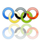 Olympic Rings [01]. Olympic Rings in a White Background Whit Reflection Stock Photo