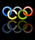Olympic Rings [02]. Olympic Rings in a Black Background Whit Reflection Royalty Free Stock Photography
