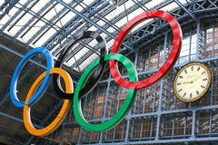 Olympic rings. At St Pancras International Rail Station in London 2012 Stock Photo