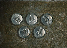 Olympic Rings. Five cans of beer are the Olympic rings on a background of steel Stock Images