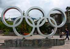 Olympic Rings. WHISTLER VILLAGE - JUL 12: Olympic rings in Whistler Village, site of the 2010 Winter Olympics and Paralymics. Taken July 12, 2011 in Whistler Royalty Free Stock Photography