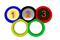 Olympic rings. Symbol of Olympic Games. Picture with the image of Olympic rings inside of which figures 1 are located, 2 and 3 Stock Photography