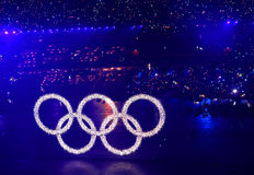 Olympic rings. The opening ceremony of the 2008 Summer Olympics,beijing Royalty Free Stock Photos