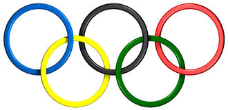 Olympic Rings. Olympic style rings created in Cinema4d (3d) to look like plastic. Includes clipping path Stock Photo