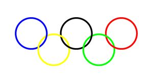 Olympic rings. Computer generated illustration. Includes clipping path Stock Photography