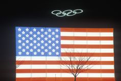 Olympic Rings and electric American Flag, Winter Olympics, Salt Lake City, Utah Royalty Free Stock Photos