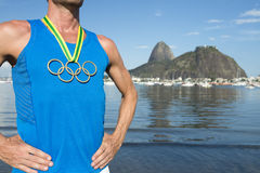 Olympic Rings Gold Medal Athlete Rio de Janeiro Royalty Free Stock Image