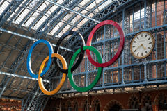Olympic Rings London 2012. Olympic rings at St Pancras Station, London Royalty Free Stock Photos