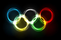 Olympic rings made of plasma. Plasmatic glowing olympic rings background