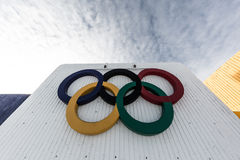 Olympic Rings Montreal. The Olympic rings outside the Stade in Montreal Royalty Free Stock Image