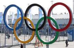 Olympic rings near olympic park Royalty Free Stock Images