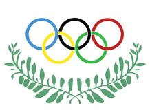 Olympic rings in olive wreath Stock Image