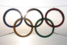 Olympic rings over sea Royalty Free Stock Photography