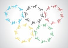 Horses. Olympic rings of running horses. Vector format Stock Photography