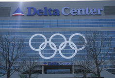 Olympic rings on side of Delta Center during 2002 Winter Olympics, Salt Lake City, UT Stock Image