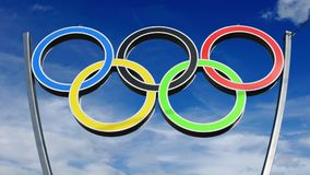 Olympic rings on sky Stock Photo
