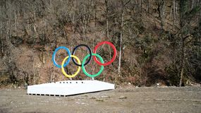 Olympic rings in Sochi, Russia Royalty Free Stock Image