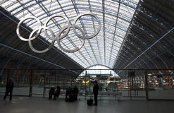 Olympic rings at St Pancras station Royalty Free Stock Photo