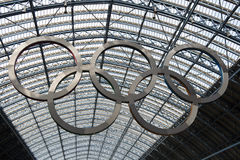 Olympic rings at St Pancras station Royalty Free Stock Images