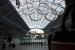 Olympic rings at St Pancras station Stock Photos