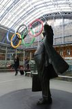 Olympic rings at St Pancras Station Stock Images