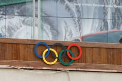 Olympic rings at Stadio Olympico del Ghiaccio, Cortina d'Ampez. Cortina d'Ampezzo, Italy – May 31, 2017: Olympic rings from 1956 at Olympic Ice Stadium Stock Photos