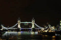 Olympic rings on Tower Bridge Royalty Free Stock Photography