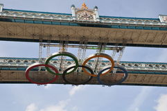 Olympic Rings on Tower Bridge - London 2012. 5 Olympic Rings mounted on London's Tower Bridge - advertisement for London 2012 Olympic Games Stock Images
