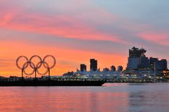 Olympic rings in vancouver harbour Stock Images