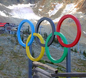 Olympic Rings At Whistler. Olympic Rings at the top of the mountain in Whistler Blackcomb resort in Canada Royalty Free Stock Images