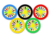 Olympic rings on the white Stock Photos