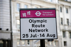 Olympic Route Network sign. London, UK - July 26, 2012: Olympic Route Network sign in Westminster. The Network operate from the 25th July to the 14th of August Royalty Free Stock Photos