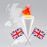 Olympic set. Olympic symbols set: fire torch, flag, UK map silhouette Royalty Free Stock Photos
