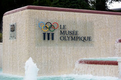 Olympic Sign and Fountain Royalty Free Stock Photography