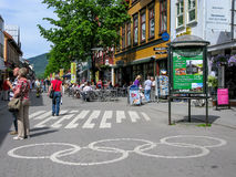 Olympic sign in Lillehammer, Norway. Olympic rings on the street in the city centre of Lillehammer, Oppland, Norway Stock Image