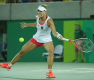 Olympic silver medalist Angelique Kerber of Germany in action during tennis women's singles final of the Rio 2016 Olympic Games Royalty Free Stock Photos