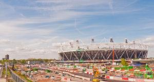 Olympic site London. A view of part of the Olympic park site in East London, showing the main stadium under construction for the 2012 games Stock Images