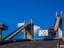 Olympic ski jump complex Stock Photos