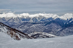 Olympic ski trail Rosa Khutor. Royalty Free Stock Photos